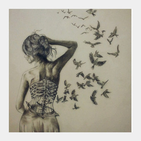 Free bird cage Square Art Prints | Artist : Sukanya Chakraborty