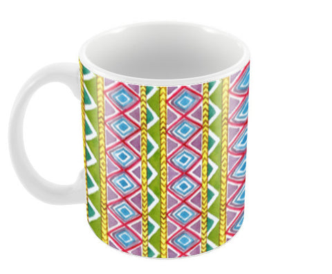 Handpainted Geometric Striped Tribal Pattern Coffee Mugs | Artist : Seema Hooda