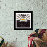 Retro vintage car on gray Premium Square Italian Wooden Frames | Artist : Designerchennai