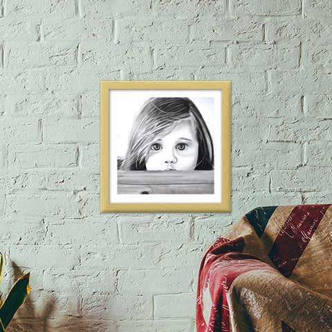 Hiding away from the evils of the world Premium Square Italian Wooden Frames | Artist : Rahul Tanwar