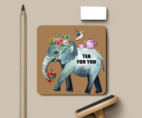 Tea For You Chai Quote Watercolor Painting Illustration Kitchen Art Coasters | Artist : Seema Hooda
