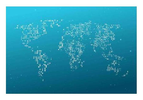Blue & White World Map Wall Art PosterGully Specials