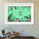 Good Vibes, a fresh look to your wall with tropical prints  Premium Italian Wooden Frames | Artist : All the randomness