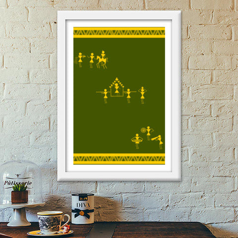 lively green and yellow warli art Premium Italian Wooden Frames | Artist : Niharika Shenoy