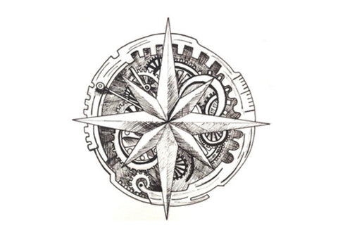 Antique Compass Wall Art  | Artist : Swathi Kirthyvasan