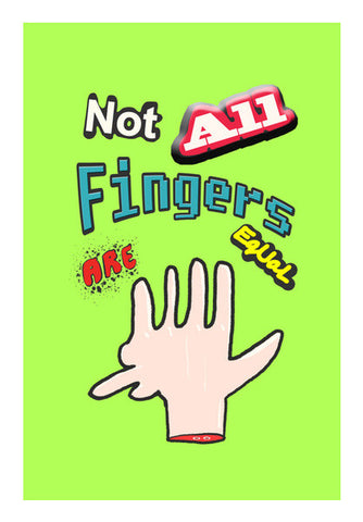 Not All Fingers Are Equal (Green Back) Wall Art | Artist : Nitin Kapoor
