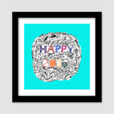 Premium Square Italian Wooden Frames, Happy 2016 Premium Square Italian Wooden Frames | Artist : Amulya Jayapal, - PosterGully - 2