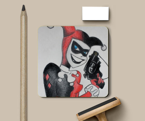 PosterGully Coasters, Harley Quinn Colored Pencil Coasters | Artist : Ajay Varma, - PosterGully