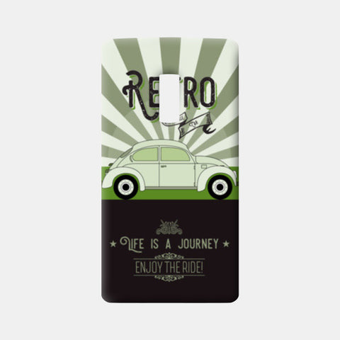Retro vintage car on green One Plus Two Cases | Artist : Designerchennai