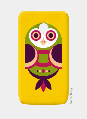 Unique geometric owl on yellow Moto E Cases | Artist : Designerchennai