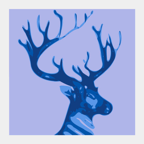 Square Art Prints, Abstract Deer Blue  Square Art Prints | Artist : Keshava Shukla, - PosterGully