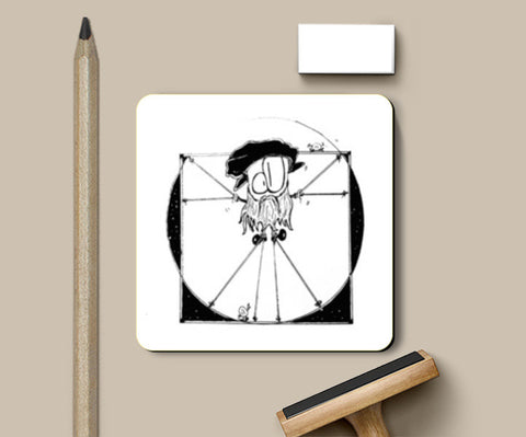 PosterGully Coasters, Vitruvian Man, Ft. DA VINCI Coasters | Artist : curiouserncuriouser, - PosterGully