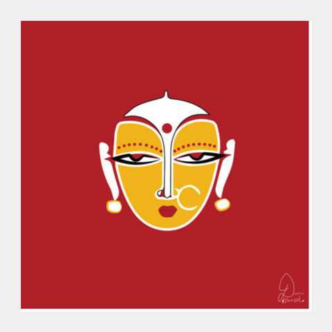 Lady red Square Art Prints | Artist : Nikita Chhajer