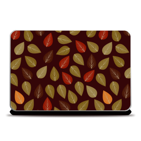 Seamless pattern with multicolored leaf on dark background Laptop Skins | Artist : Designerchennai