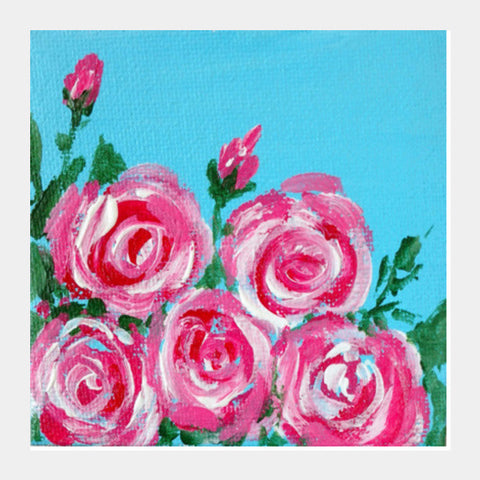 Square Art Prints, Abstract Pink Roses Canvas Painting Floral Square Art Prints | Artist : Seema Hooda, - PosterGully