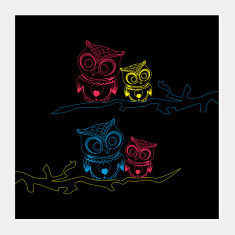 OWL B Square Art Prints | Artist : Tiny Dots