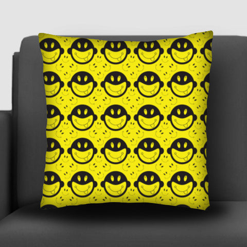 Monkey tongue out on black and yellow Cushion Covers | Artist : Designerchennai