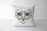 Big Eyes Cat Face Design Cushion Cover I Artist: Seema Hooda