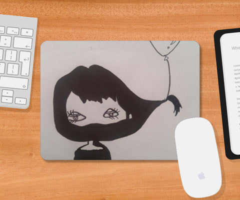 Funny black and white illustration Mousepad | Artist : Vaishnavi Gajapure