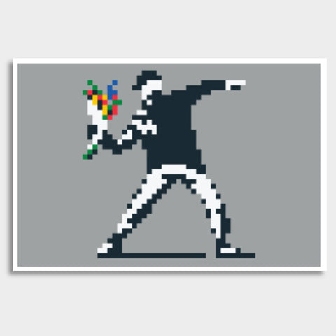 Banksy Flower Thrower Pixel Giant Poster | Artist : 8bitbaba