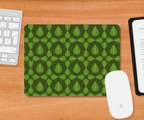 Seamless pattern with leaves on green background Mousepad | Artist : Designerchennai