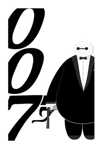 Minimal Baymax James Bond  Wall Art | Artist : Mrijoe