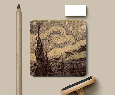 PosterGully Coasters, Starry night Van Gogh sketch Coasters | Artist : Sukanya Chakraborty, - PosterGully