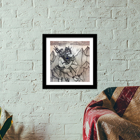 Shiva with Chillum on Mountains | Pencil Sketch | Premium Square Italian Wooden Frames | Artist : Nandini Rawat