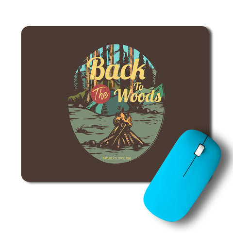 CampFire In The Woods Vintage Artwork Mousepad