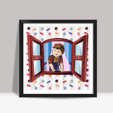 Little Boy Square Art Print | Madhumita Mukherjee
