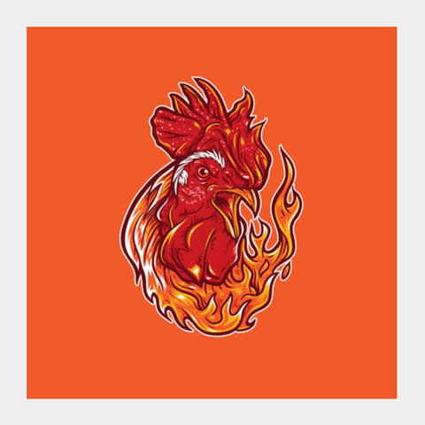 Rooster on fire Square Art Prints | Artist : Inderpreet Singh