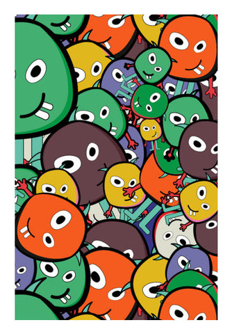 Colorful Monster Faces Doodle Wall Art | Artist : Designerchennai