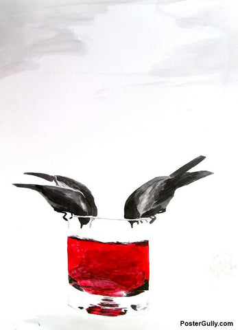 Wall Art, Bird Drinking Wine Artwork | Artist: Sunanda Puneet, - PosterGully - 1