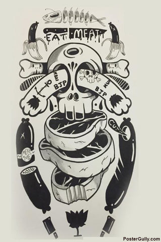 Wall Art, BJP Skull Artwork | Artist: Sameer Musale, - PosterGully