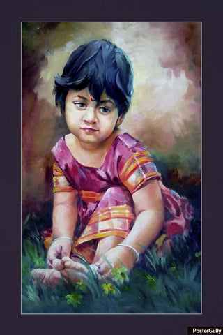 Brand New Designs, Sweet Girl Painting Artwork | Artist: Raviraj Kumbhar, - PosterGully - 1