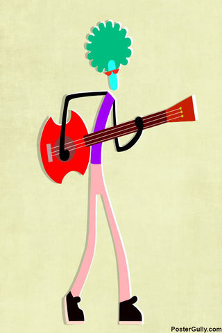 Wall Art, Minimal Guitar Artwork | Artist: Prashant Shikare, - PosterGully - 1