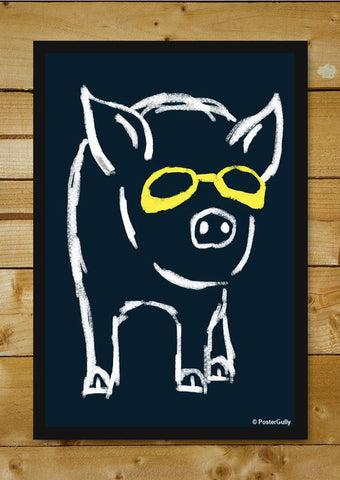 Brand New Designs, Piggy Wants To Be Cool Navy Blue | By Captain Kyso, - PosterGully - 1