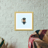 Cartoon of a strict policeman Premium Square Italian Wooden Frames | Artist : Mani Selvam