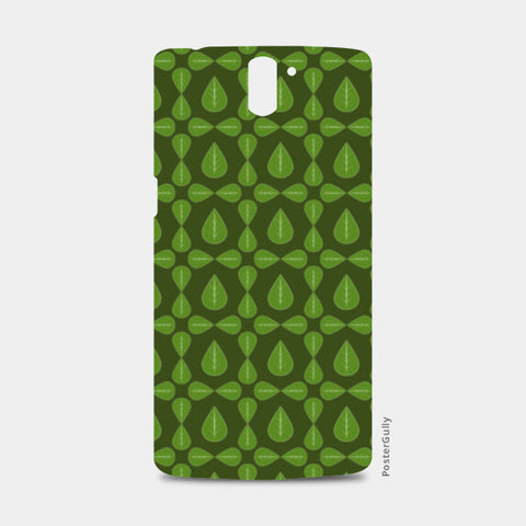 Seamless pattern with leaves on green background One Plus One Cases | Artist : Designerchennai