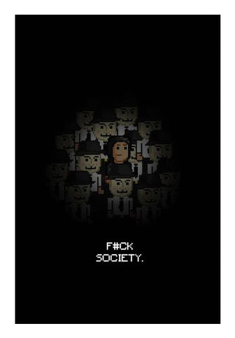 Fuck Society Mr Robot Themed 8bit Design Wall Art | Artist : Divyansh Deora