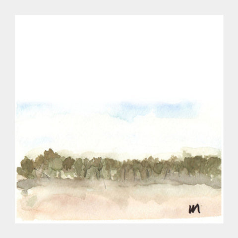 Secret Forest Watercolour Painting Square Art Prints | Artist : Manas Arvind