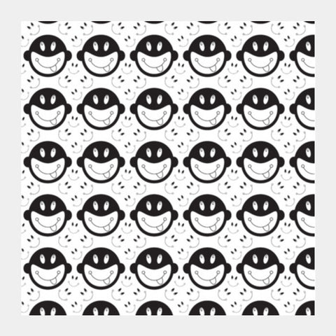 Monkey tongue out on black and white Square Art Prints | Artist : Designerchennai