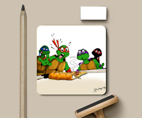 Coasters, Ninja Turtles - Pizzaaa!!! Coasters | Artist : Paul D' Rozario, - PosterGully