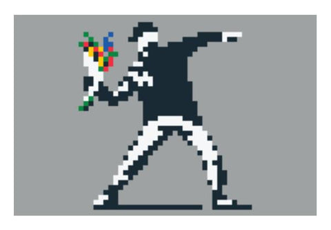 Banksy Flower Thrower Pixel Wall Art PosterGully Specials