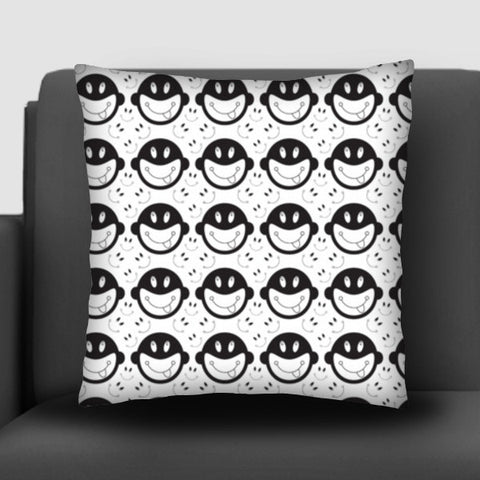 Monkey tongue out on black and white Cushion Covers | Artist : Designerchennai