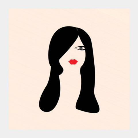 Girl Face With Long Black Hair Square Art Prints PosterGully Specials