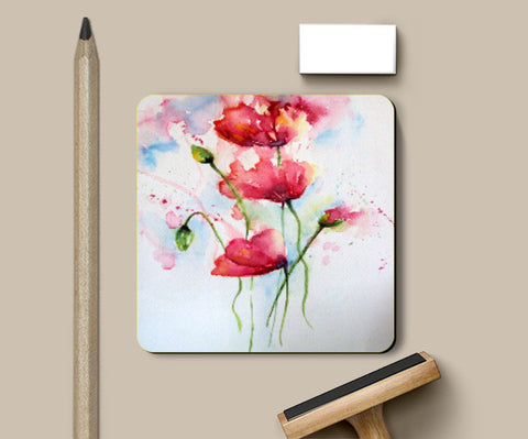 Coasters, Abstract Poppy Watercolor Flowers Coaster l Artist: Seema Hooda, - PosterGully