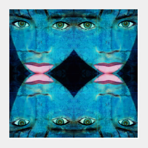 True Perception - Green Eyes Pink Lips Square Art Prints | Artist : Rameshwar Chawla