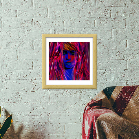 Miss psychedelic! Premium Square Italian Wooden Frames | Artist : Jessica Maria