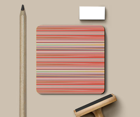 Abstract Horizontal Colorful Thin Stripes Pattern Coasters | Artist : Seema Hooda